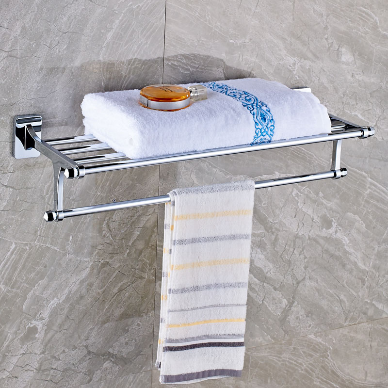 цена на Wall Mounted Chrome Fixed Bath Towel Holder Chrome Brass Towel Shelf with Towel Bar