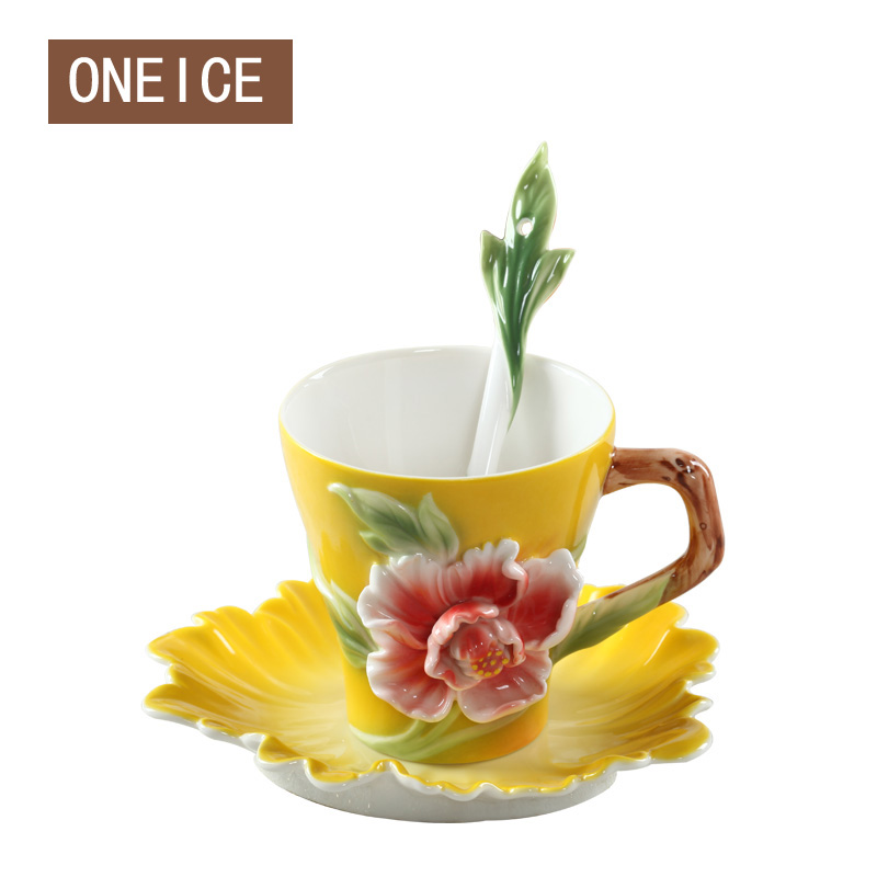 Enamel Color Bone China Coffee Cup And Saucer Sintered Wedding Birthday Valentine's Day Gifts European Ceramic Tea Mug 150ml
