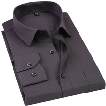 2019 New Men's Dress Shirt Solid Color Plus Size 8XL Black White Blue Gray Chemise Homme Male Business Casual Long Sleeved Shirt