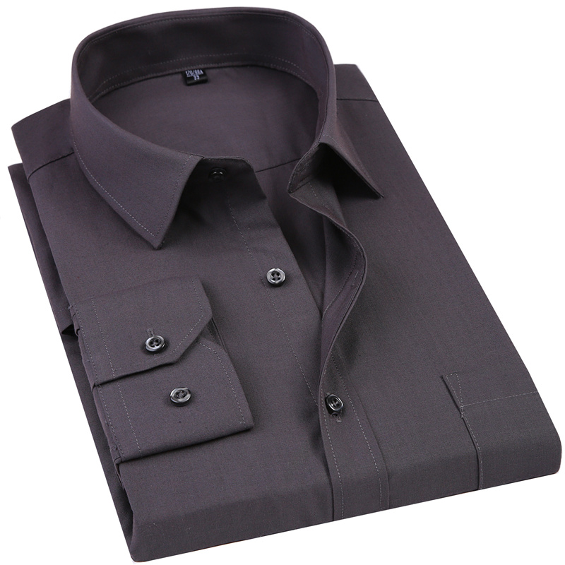 2019 New Men's Dress Shirt Solid Color Plus Size 8XL Black White Blue Gray Chemi