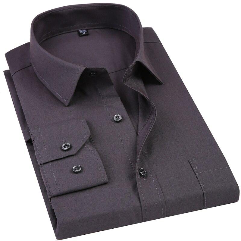 2019 nouveau hommes robe Chemise couleur unie grande taille 8XL noir blanc bleu gris Chemise Homme Homme affaires décontracté à manches longues Chemise