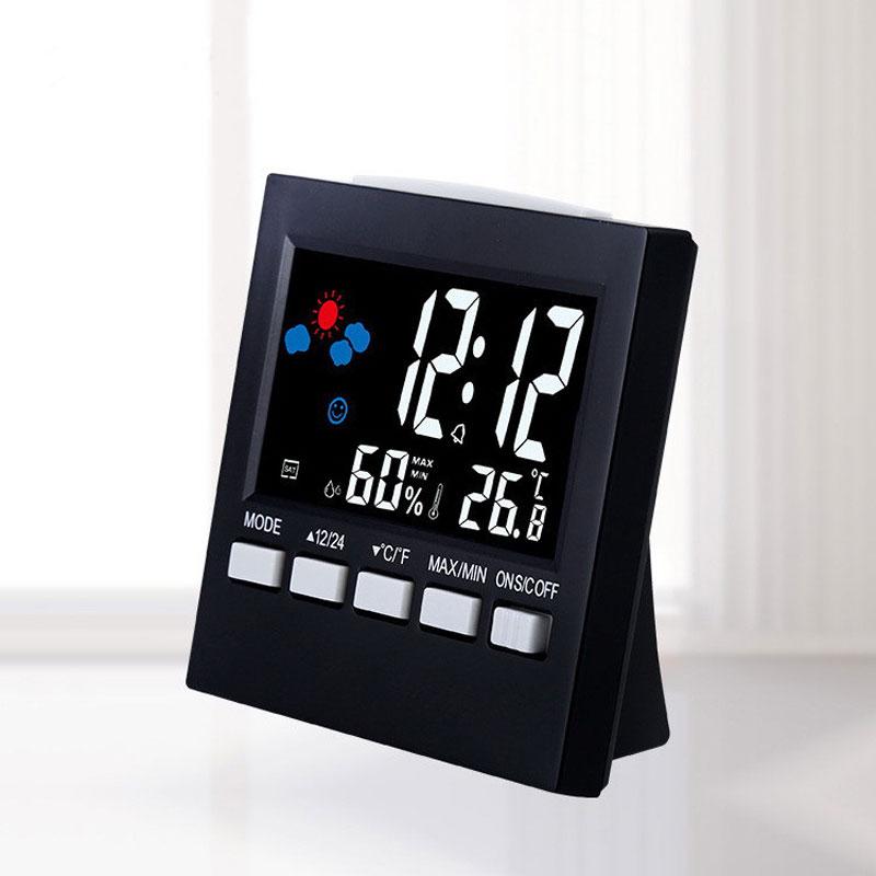 Multifunction LED Alarm Clock Kids Desktop Mini Backlight Temperature And Humidity Color Weather Perpetual Calendar Clock Alarm
