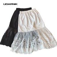 Women Lady Lace Slip Skirt Extender Knee Length A Line Floral Underskirt Petticoat Fashion New White