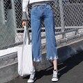 Nova Primavera Verão Mulheres Jeans Coreano Estilo Boyfriend calças Soltas Perna Larga Calças Jeans Rasgado Calças de Brim Do Furo Das Mulheres Casuais