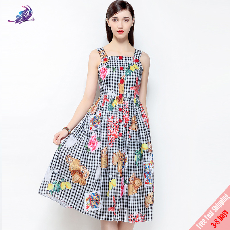 High Quality New 2018 Fashion Runway Designer Dress Womens Spaghetti Strap Vintage Plaid Playing Cards Printed Dress Free DHL