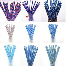 500pcs Blacl Blue Paper Straws kids Birthday Wedding Party Supplies Hawaiian Anchor Chevron Drinking For Baby Shower DIY