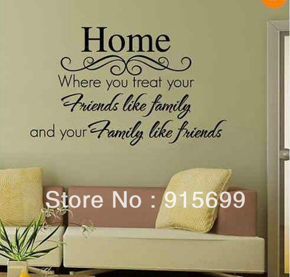 Black Friendship Friends Like Family Quote Words Wall Stickers Wallpaper  Home Art Decals   [Top