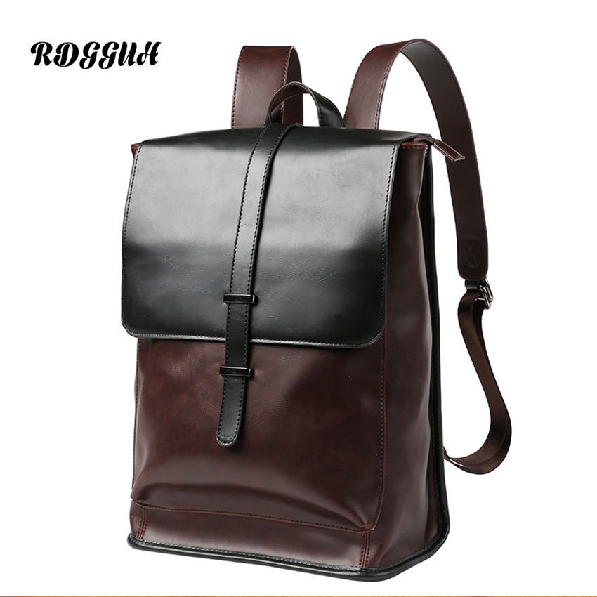 RDGGUH Brand Waterproof Laptop Backpack Men PU Leather Backpacks For Teenager Men Casual Daypacks Male High Quality Backpack zebella travel high quality pu leather men backpack big capacity waterproof functional male backpacks school teenager men bags