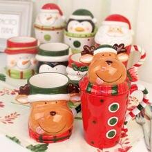 Рождественская керамическая кофейная кружка с крышкой 3d мультяшный
