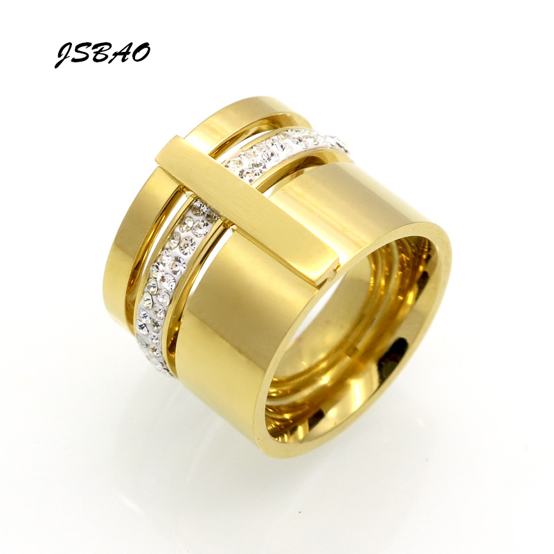 jsbao three layers beauty anillos female stainless steel crystal rings for women men wedding jewelry - Beautiful Wedding Rings