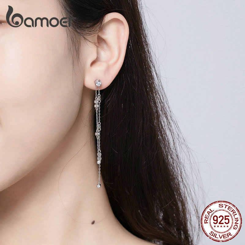 BAMOER 本物の 925 スターリングシルバーロングチェーンドロップピアス女性耳ブラブラシルバージュエリーウェディングジュエリー BSE102