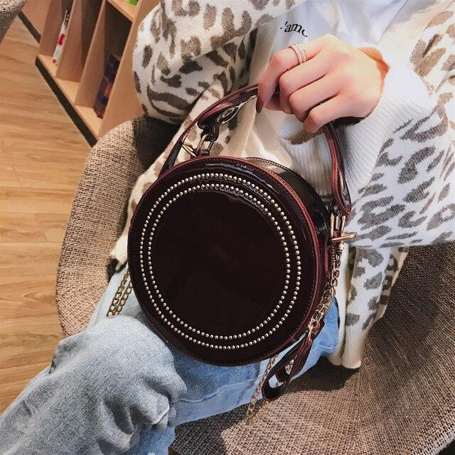 c4fee8dd30d2 Luxury Patent Leather Women Small Round Bag Fashion Rivet Tote Handbags  Female Casual Chain Shoulder Crossbody