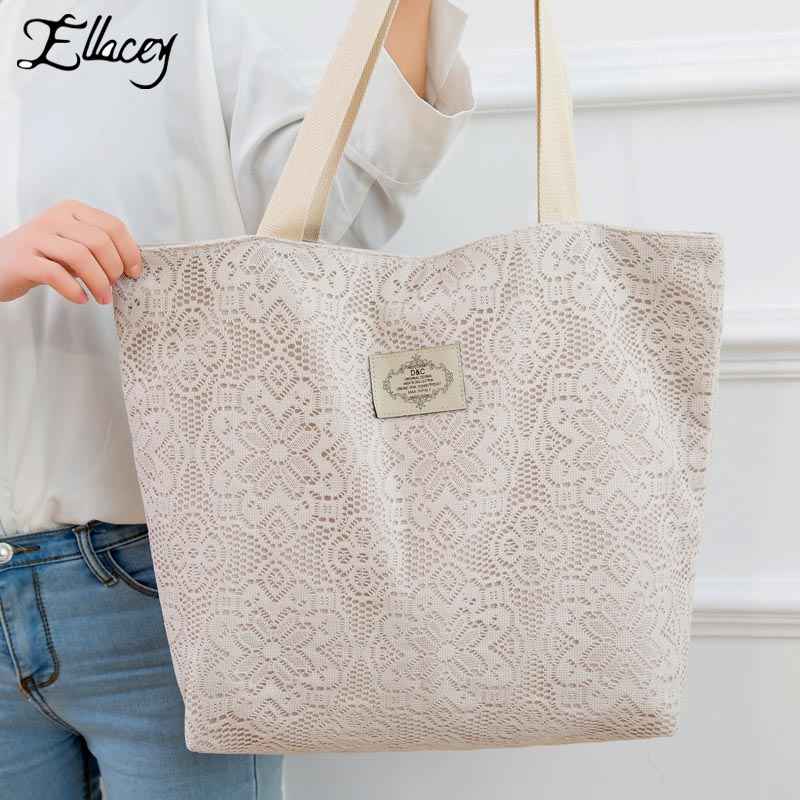 New 2017 Large Casual Tote Bags For Women Designer Floral Hollow Out Lace Handbags High Quality Fashion Lady Lace Shoulder Bags characteristic floral and butterfly shape lace decorated body jewelry for women