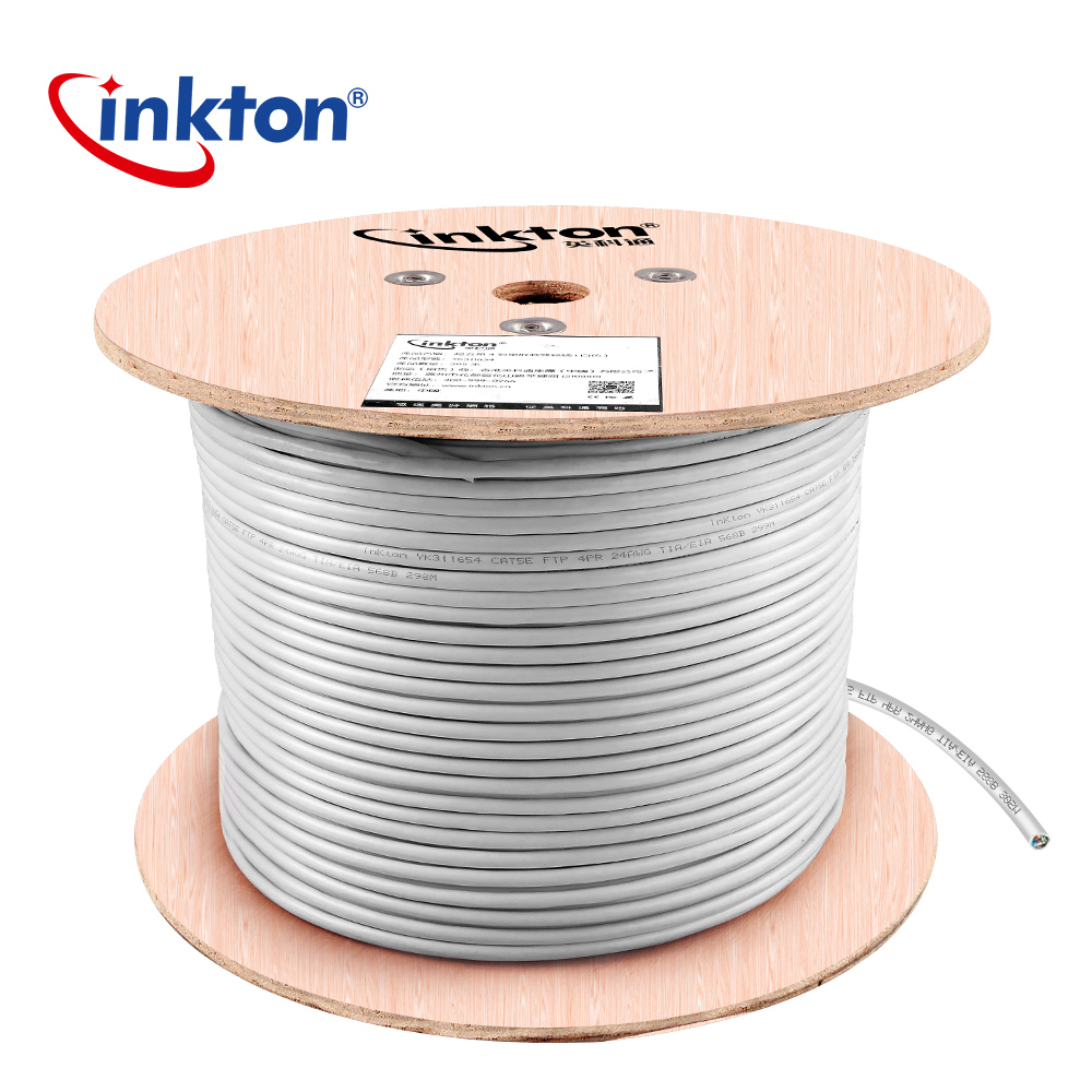 Inkton Cat5e FTP Shielding Ethernet Cable High Speed Pure Copper White 4 Pairs Twisted Shielding Network Cable 50m/100m/305m