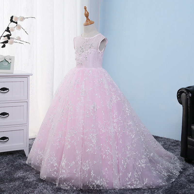 2018 Fashion Elegant Children Kids Pink Color O-neck Birthday Wedding Party Long Trailing Dress Babies Girls Piano Host Dress