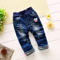 Fashion Autumn Roupas Baby Infants Girls Cartoon Washed Distrressed Denim Jeans Full Length Pants Pantalones Kids Trousers MT888
