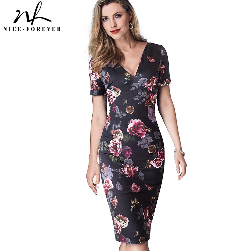Nice-forever Vintage Elegant Floral Printed Wear To Work Sexy V Neck Vestidos Bodycon Office Business Sheath Woman Dress B447