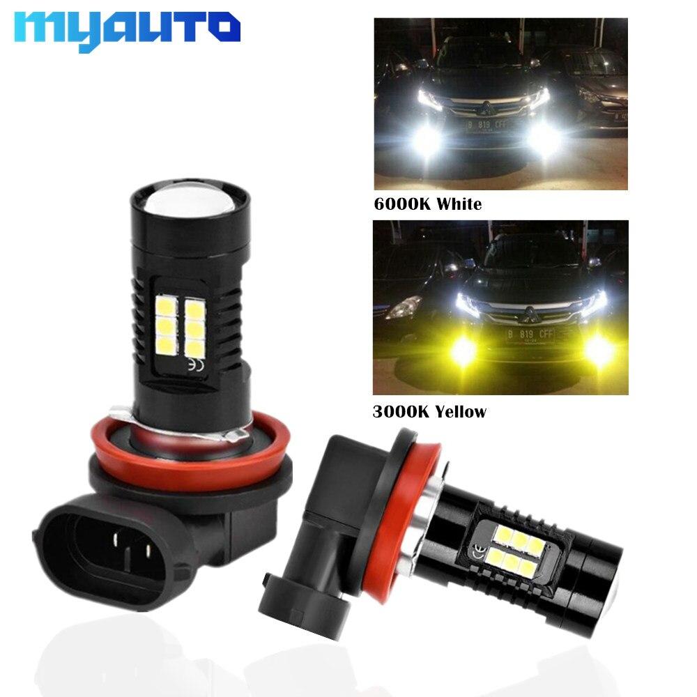 2pcs H11 H8 LED Bulbs HB3 9005 HB4 9006 LED 6000K 3000K Car Fog Lights 1200LM Auto Fog Running Lamp White Golden 12V 24V