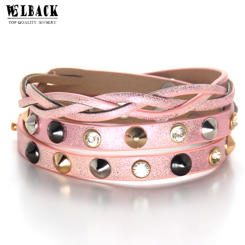 Welback Fashion Jewelry Bowknot Hiphop Rock Punk Style Crystal Rivet Wavy Type Multilayer Charm Leather Fow Women And Girl