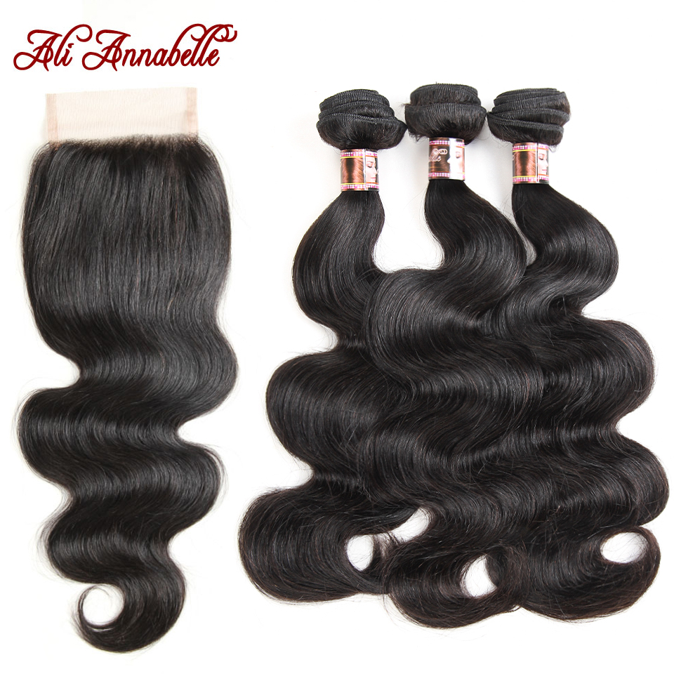 ALI ANNABELLE HAIR Malaysian Body Wave Human Hair Weave 3 Bundles With Lace Closure Remy Hair