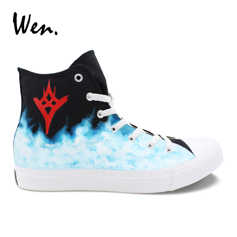 Wen Unisex Design Hand Painted Shoes Destiny The Taken King High Top Sneakers Boy Girl Canvas Casual Shoes Customized