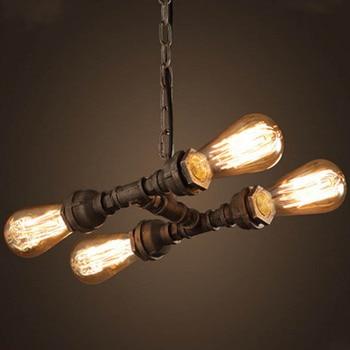LOFT Retro Creative Iron Pendant Light E27 American Industrial Pipes Style For Bar&Coffee Shop Decoration Artistical