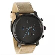 Outdoor leather sports men's watch automatic date waterproof quartz watch time zone military watch relogio masculino стоимость