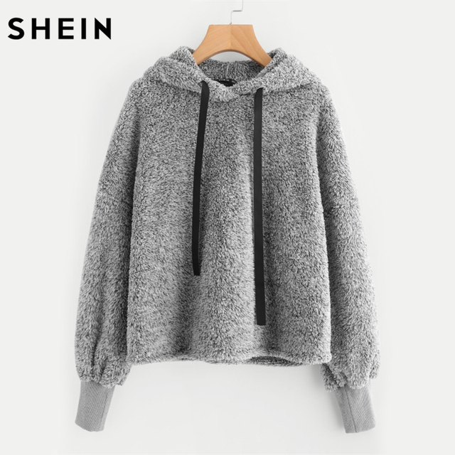 SHEIN Faux Fur Fluffy Hoodie Autumn Winter Casual Women Sweatshirts Grey  Long Sleeve Womens Minimalist Drawstring Pullovers 7392e1e122