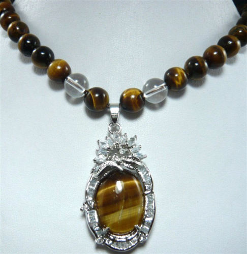 Women Gift word Love real Hot sale new Style >>>>>New Design Natural Tiger Eye Stone Pendant Necklace