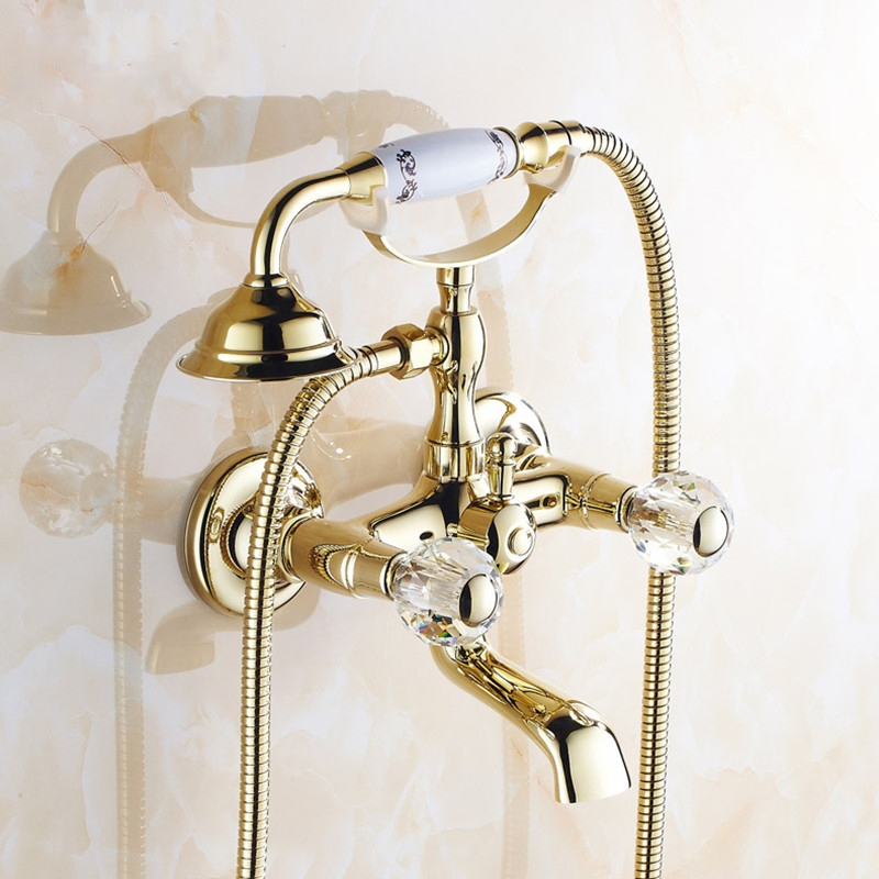Shower mixer Faucet Mixer Tap G018 Free Shipping Luxury golden Style BathTub Faucet Ceramic Handle Handheld bath new us free shipping simple style golden finish bathtub faucet mixer tap shower faucet w ceramics handheld shower wall mounted