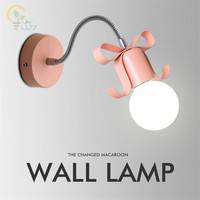 Nordic Color Bow Led Wall Lamp Modern simplicity Corridor Wall Lights Bedside Lamp.For Kid's room Home Ligting apliques de pared