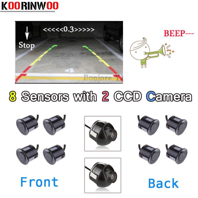 Koorinwoo Car Parking Sensors Parktronic 8 Alarm Speaker Front Camera Car Rear view camera Reversing Parking