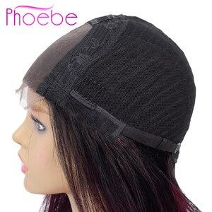 Image 4 - Phoebe 1B/27 4x4 مستقيم أومبير الدانتيل إغلاق الباروكة البرازيلي 100% خصلات الشعر المستعار الإنسان للنساء السود غير ريمي 150% الكثافة نسبة منخفضة