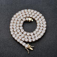 Chaîne de Tennis glacée pour hommes, 1 rangée, collier 3mm 4mm 5mm, bijoux Hip hop, CN033