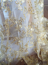 Gold Lace Fabric, Scalloped Fabric for Wedding, Bridals, Gowns