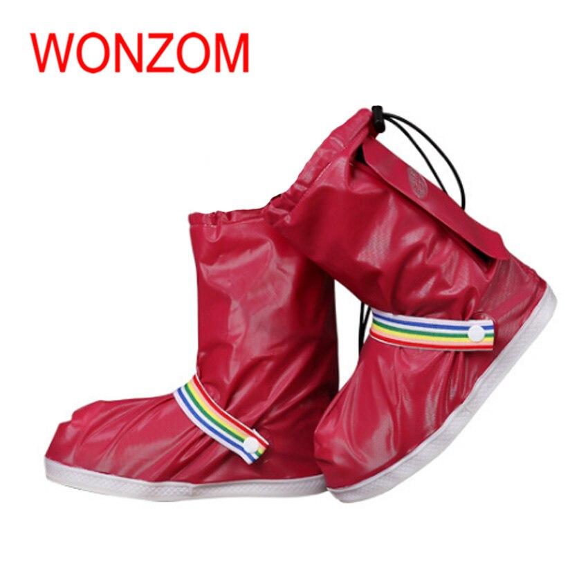 WONZOM S-3XL Fashion Waterproof Rain Shoe Covers Anti-Slip Os