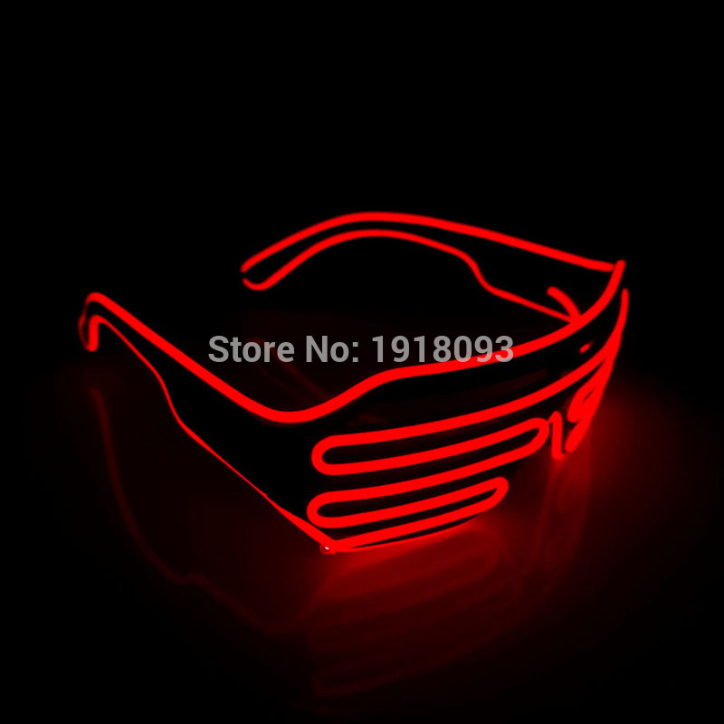 2017 Trendy 100PCS/Lot NEW Attractive Flashing LED Strip shutter Glasses Luminous Colorful Glowing EL wire Glasses