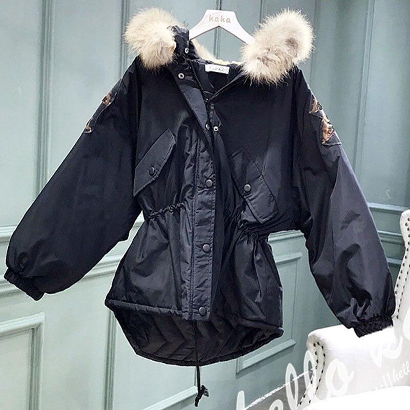 Plus Adler Pelz Trendy black Stickerei Frauen Warme Größe Neue Kragen Winter Lw122 Jacke Sequiened Muster Mantel Kleidung White Mit Kapuze Weibliche rrw1a