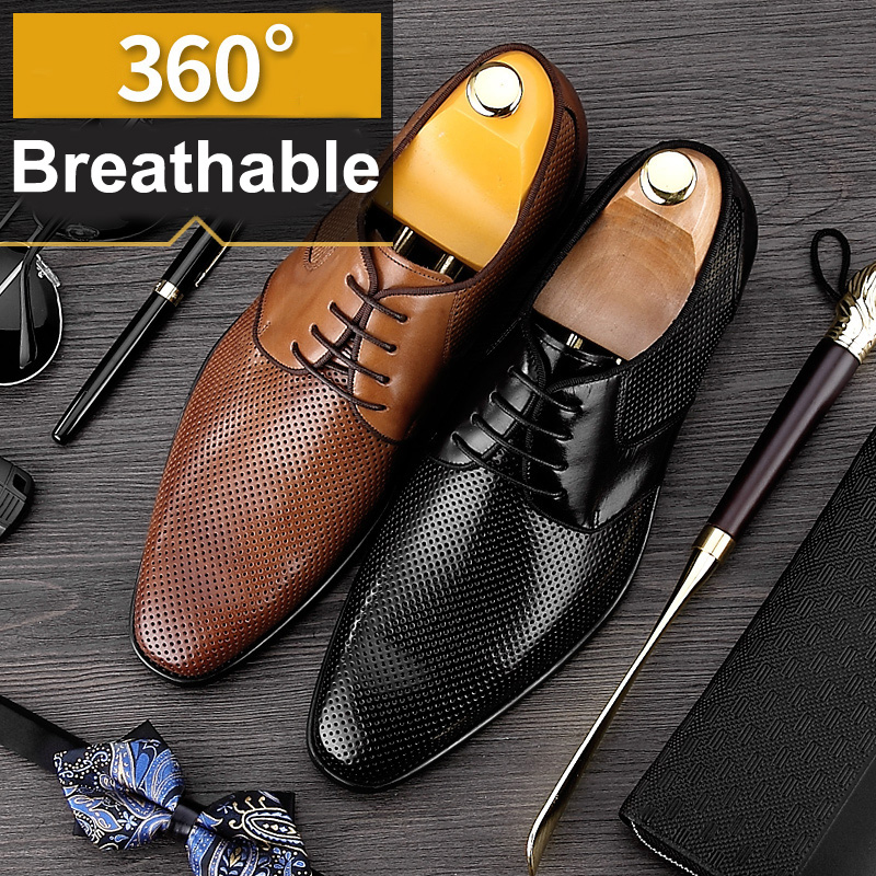 2017 Summer Designer Formal Man Dress Shoes Male Genuine Leather Breathable Oxfords Luxury Men's Bridal Wedding Flats MG31 mens luxury genuine leather shoes oxfords flats high quality male 2017 wedding social business formal pointed dress casual shoes