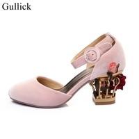 エレガントなベルベット鳥かご靴女性アンクルストラップフラワーインテリアポンプ分厚いかかと結婚式パーティードレス靴ピンク黒ビッグサイズ