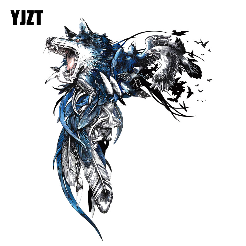 YJZT 13.2CM*17.6CM Fashion Wolf And Feather Decal PVC  Motorcycle Car Sticker 11-00500