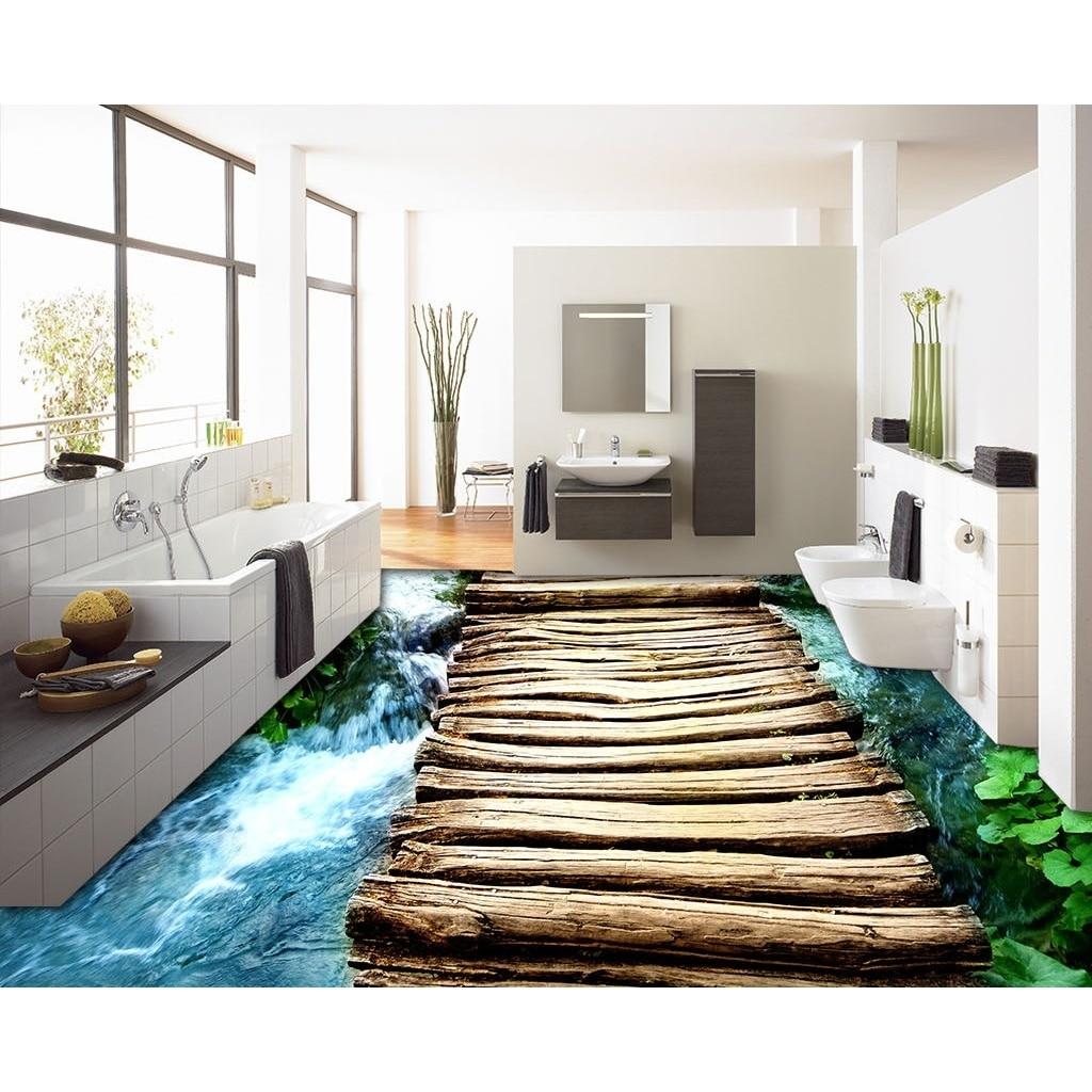 Flooring custom wall sticker 3d fresh bridges floor for Custom wall mural decals