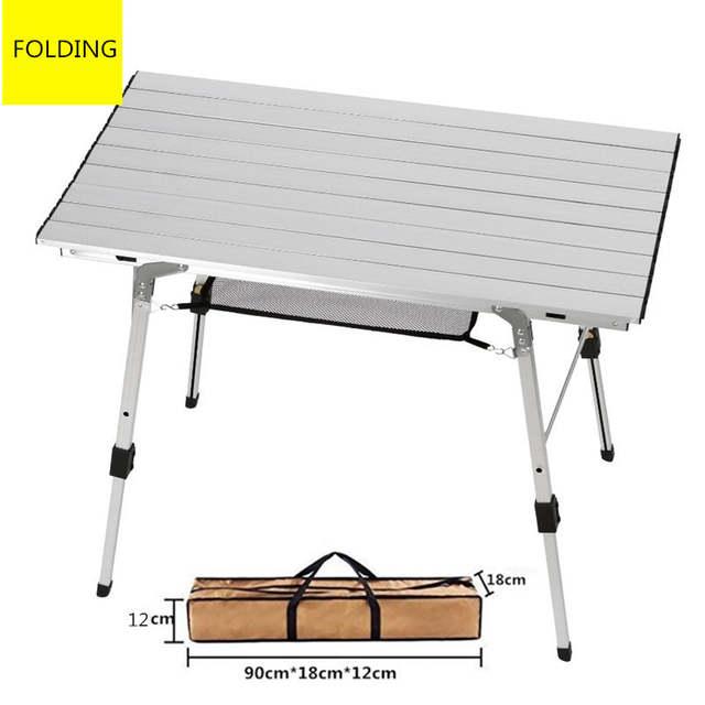 €122.18 49% de DESCUENTO|Mesa de comedor de cocina plegable portátil de  aluminio mesa de Camping ajustable altura al aire libre mesas de Picnic ...