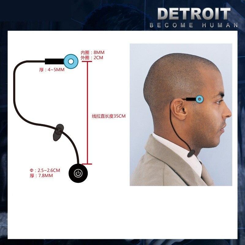 Detroit: torne-se humano anel círculo cabeça led adereços cosplay connor rk800 templo sem fio luz led kara estado lâmpada de cintilação