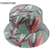 FOXMOTHER New Autumn Outdoor Green Navy Floral Bucket Hats bob chapeau gorras Fishing Caps Womens Mens