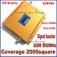 New model 980 power 30 dbm gain 65dbi LCD display GSM 900mhz mobile phone signal booster repeater GSM booster GSM repeater
