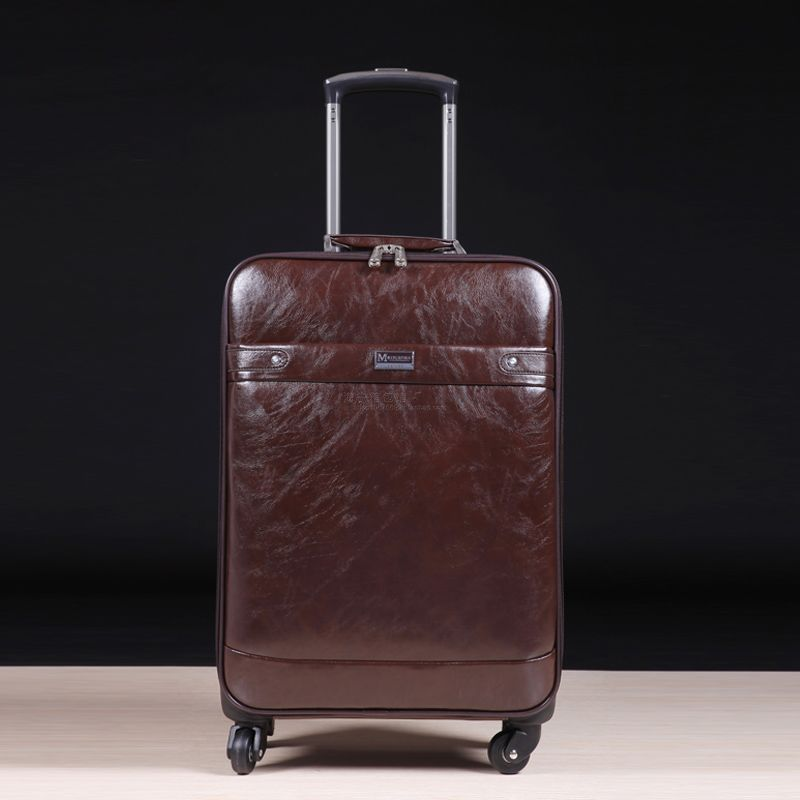 Quality leather universal wheels trolley luggage travel bag cowhide 16 20 24 commercial luggage,vintage fashion trolley bags