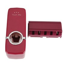 NHBR 1x Wine Red Automatic Toothpaste Dispenser Squeezer + 5 Toothbrush Holder Family Set Wall Mount Rack Bath