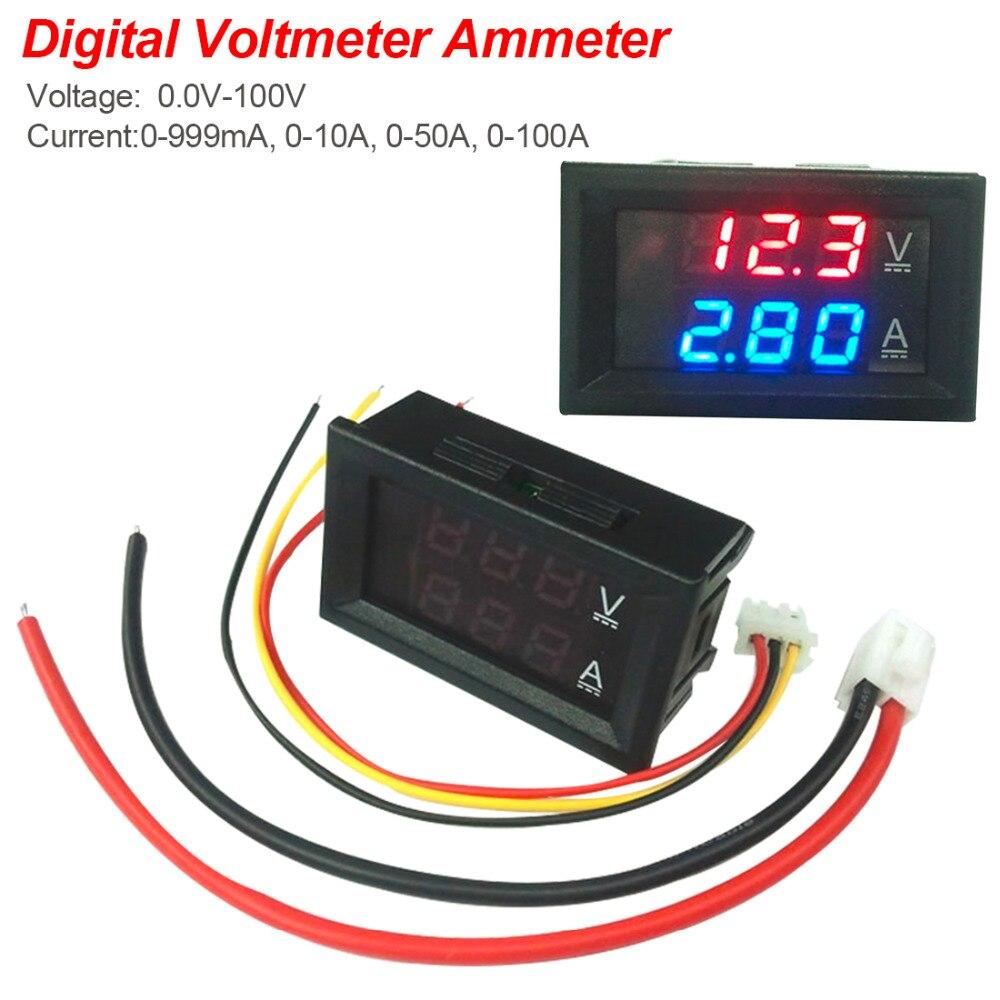 Digital Ammeter Voltmeter Gauge DC 0-100V 0-10A Voltmeter Ammeter Blue + Red LED Amp Dual Professional