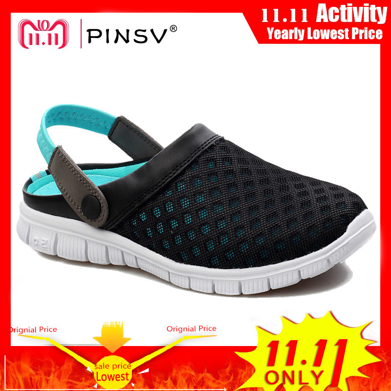 PINSV Summer Shoes Men Beach Slippers Men Sneakers Clogs Men Shoes Casual Footwear Zuecos Sandalias Zapatos Hombre Size 36-46 ролл хот спайс креветка стандарт